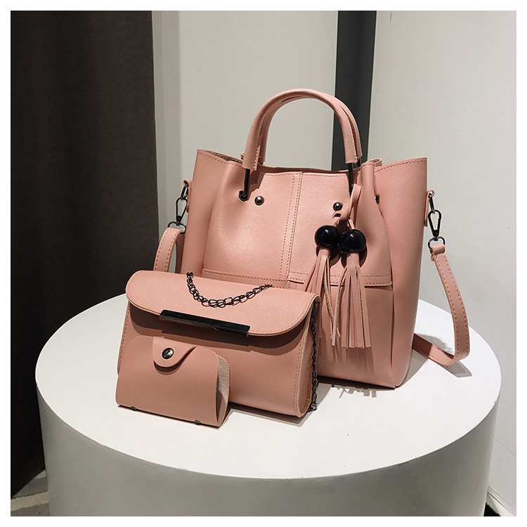 705b96e43fee Набор сумок 3в1: сумка, клатч, визитница розовый: продажа, цена в ...