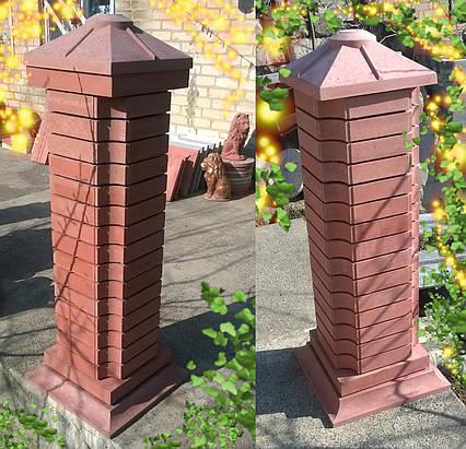 Крышка колпак на столб забора бетонная, шляпка 420х420, плита накрытие парапета колонны из бетона.