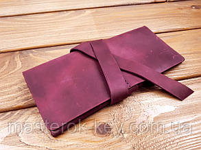 Кошелек из натуральной кожи ручной работы с лентой цвет фиолетовый