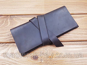 Кошелек из натуральной кожи ручной работы с лентой цвет коричневый