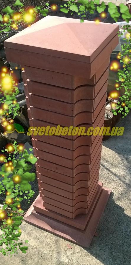Крышка колпак на столб забора бетонная, шляпка 400х400, плита накрытие парапета колонны из бетона.