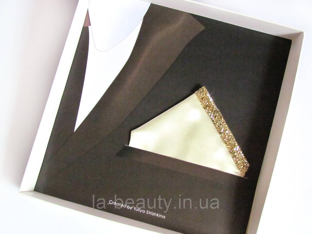 Паше (нагрудный платок для пиджака) светло-золотой для праздника