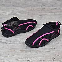 07eaf03f4 Акваобувь женская для плавания тапочки для кораллов и моря черные с  розовым, Черный, 41