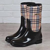 d5688502f Резиновые сапоги женские высокие Burberry style London на молнии черные  бежевые, Бежевый, 37