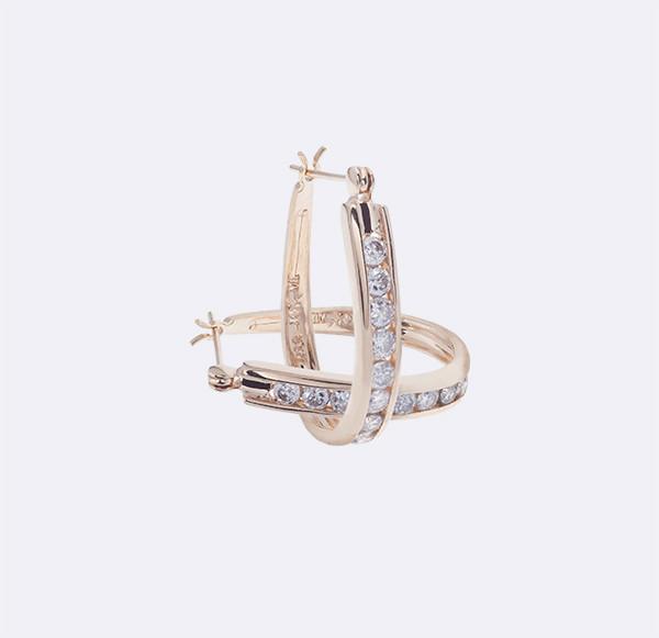 Женские серьги из желтого золота с бриллиантами С27Л3№5