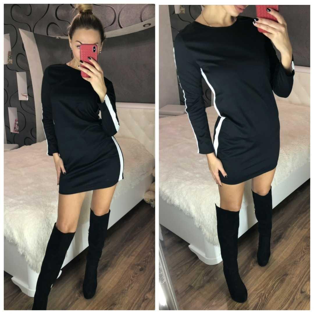 368828ced1c Спортивное черное платье с лампасами 102.2 MLook  продажа