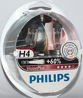 Лампа автомобільна Н4 Р43 PHILIPS VISION PLUS+60% комплект