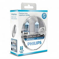 Лампа автомобильная Н4  PHILIPS White Vision комплект