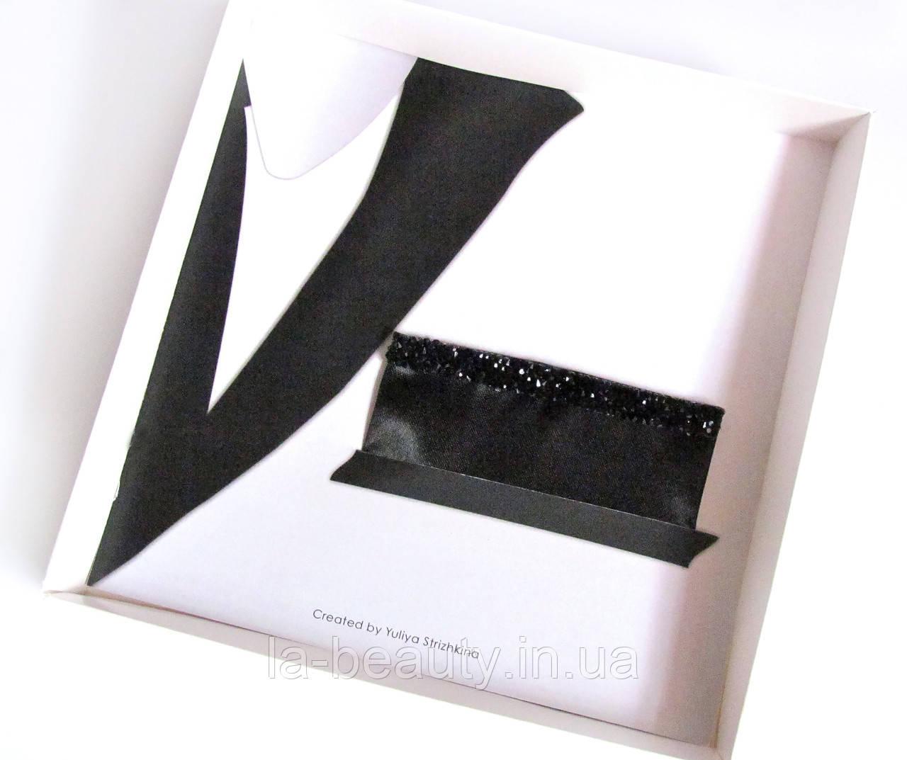 Паше (нагрудный платок для пиджака) черный со стразами блестящий