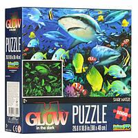 Пазлы 3D 12500  акула, морские обитатели, 68-48см, свет.в темноте, 1000 дет, в кор-ке,20-20-6см