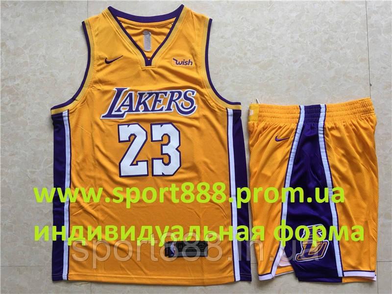 6ce03411 Вышивка форма мужская желтая Nike LeBron James 23 Los Angeles Lakers сезон  2018-2019 -