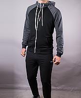 57b2c2c89f3d Спортивный костюм мужской Reebok черный серые плечи на молнии с капюшоном,  Черный, M