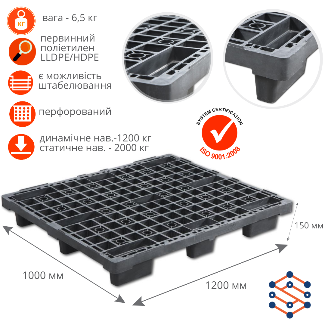 Пластиковий экспортный поддон P-1 черный 1200x1000x150 мм
