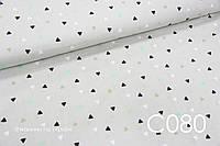 Ткань сатин Треугольники мелкие на сером