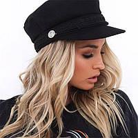 Женский картуз, кепи, фуражка CAP с канаткой черный