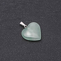 Кулон Сердце натуральный камень Нефрит 19х19х26мм