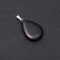 Кулон Капля натуральный камень Агат черный 16х25х35мм