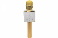 Беспроводной караоке микрофон с динамиком в чехле Bluetooth USB Q7 Золотой