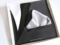 Паше (нагрудный платок для пиджака) серый (серебряный), фото 1