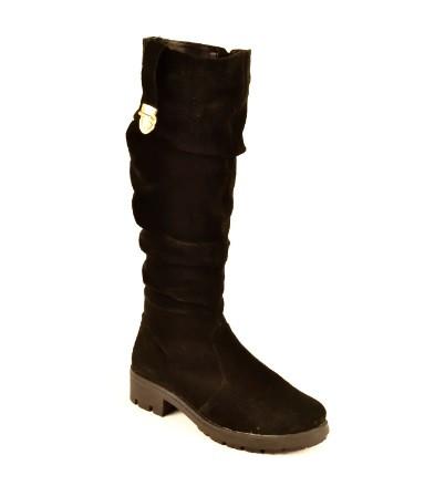 Сапоги женские зимние замшевые черные. Женская обувь 133004