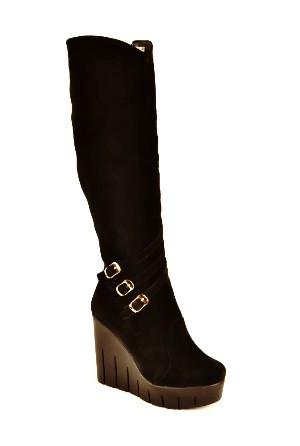 Чоботи жіночі зимові на високій танкетці чорні замшеві 141109. Жіноче взуття