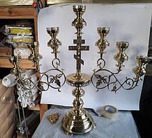 Семисвечник с литьем напрестольный с крестом
