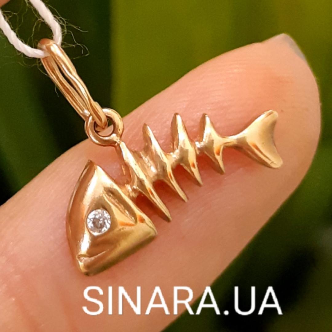 Золотая подвеска Рыбка Фишбон - Золотой кулон Рыбка