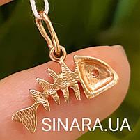 Золотая подвеска Рыбка Фишбон - Золотой кулон Рыбка, фото 2