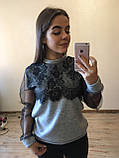 Теплая кофта свитер блузка из ангоры с кружевом и рукавом из сетки , фото 2