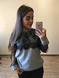 Теплая кофта свитер блузка из ангоры с кружевом и рукавом из сетки , фото 4