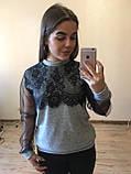 Теплая кофта свитер блузка из ангоры с кружевом и рукавом из сетки , фото 6