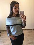 Теплая кофта свитер блузка из ангоры хомут с кружевом  , фото 2