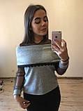 Теплая кофта свитер блузка из ангоры хомут с кружевом  , фото 3