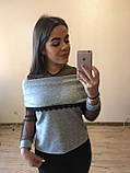 Теплая кофта свитер блузка из ангоры хомут с кружевом  , фото 4
