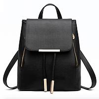 Рюкзак женский из кожзама на шнурке Glamur Черный