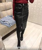 Женская шикарная юбка с поясом из эко-кожи , фото 1