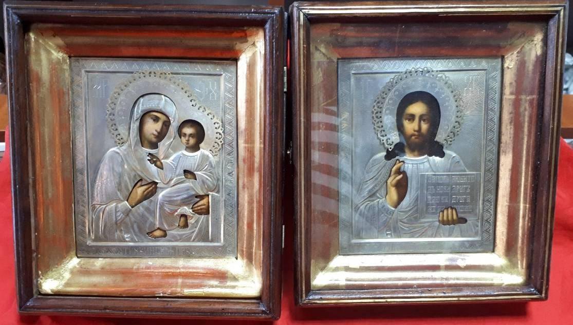 Ікони Вінчальна пара 19 століття, срібло