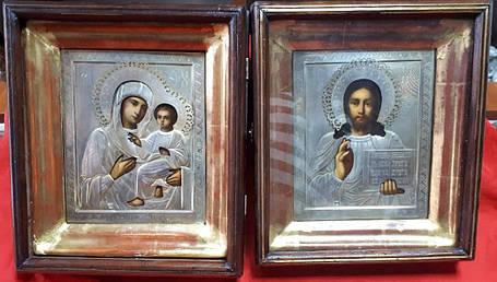 Ікони Вінчальна пара 19 століття, срібло, фото 2
