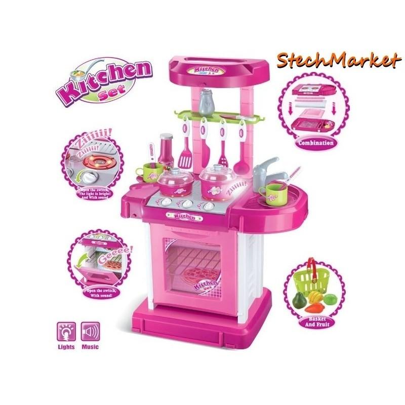 Кухня (розовая) с посудой, батар, музыка, свет 008-58