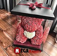Мишка из роз Teddy Rose красный с белым сердцем (40см) в коробке