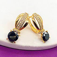 """Серьги Xuping Jewelry """"Кира"""" черный камень, медицинское золото, позолота 18К, английский замок. А/В 2180"""