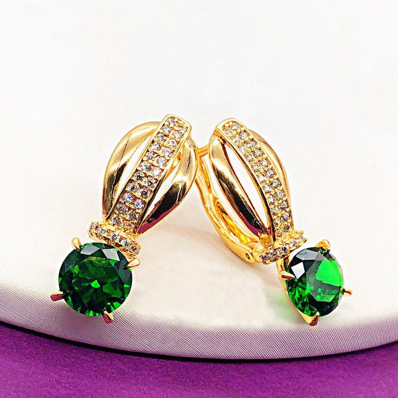 """Серьги XUPING """"Кира"""" зеленый камень,  медицинское золото, позолота 18К, английский замок"""