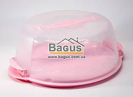 Тортовница круглая с крышкой 26х26х12cм пластиковая (цвет - розовый) Empire (EM-1305-4)
