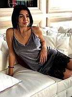 Велюровое платье пеньюар с широким кружевом, фото 1
