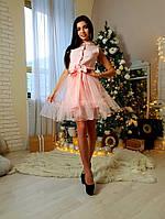 35dd0585325 Приталенное короткое платье под пояс с юбкой из сетки с бархатным напылением  42-44