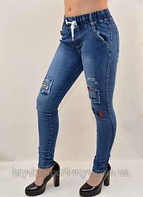Джинсы женские стрейч с заплатками и вышивками на коленях