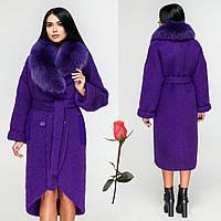 Зимнее женское пальто с шалевым воротником и натуральным мехом F-1089 Фиолет 7ea5200a5fb49