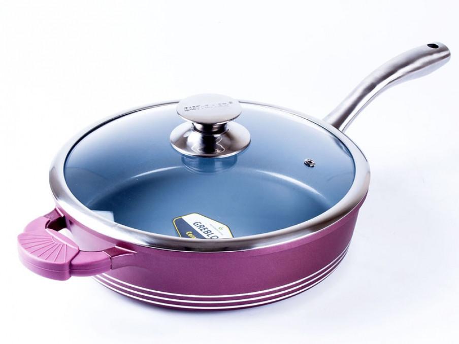 Сковородка сотейник керамика 28 см 3,5л Bergner BG-6787 - Mini-Cena - интернет магазин посуды и бытовой техники  в Луцке