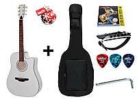 Гитара акустическая Trembita Leotone L-03 WH (чехол, медиатор, каподастр, струна, ключ)
