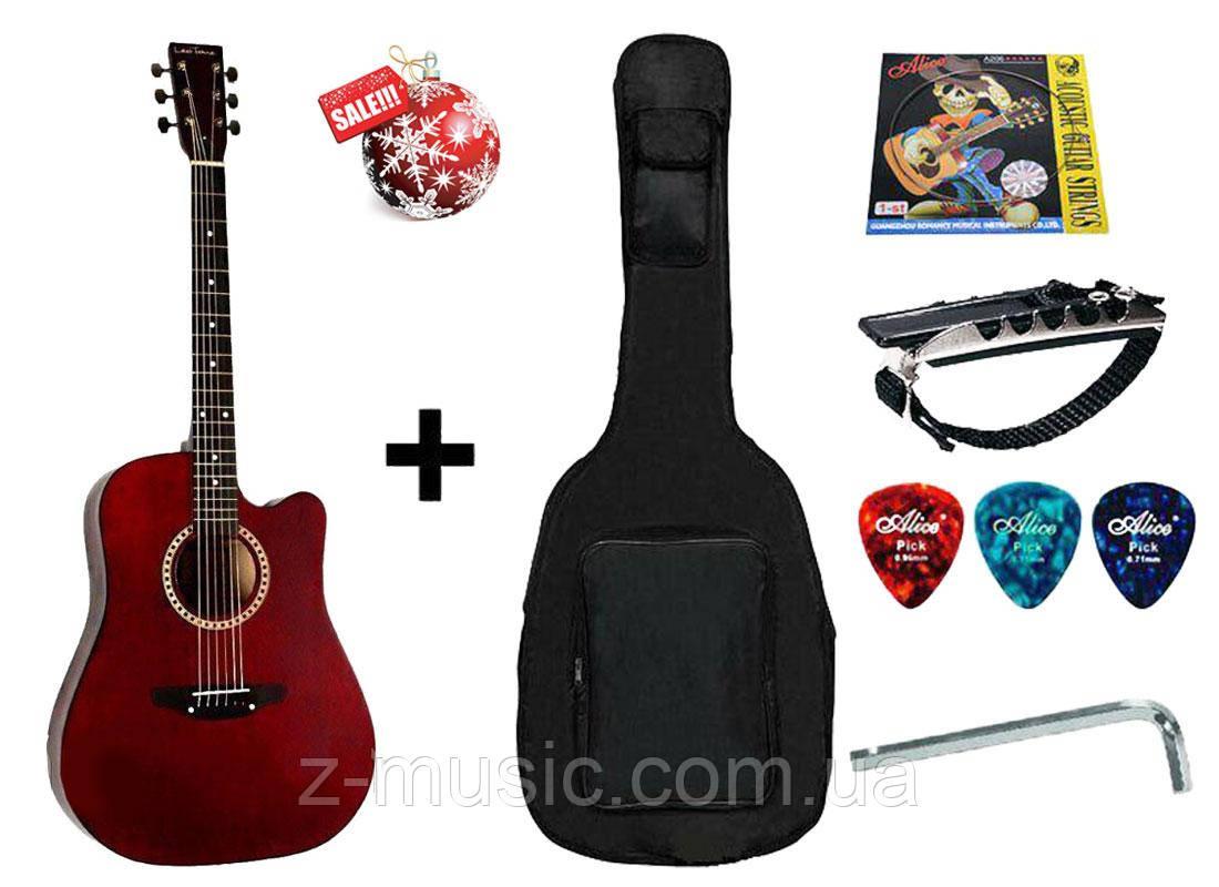 Гитара акустическая Trembita Leotone L-03 MRD (чехол, медиатор, каподастр, струна, ключ)